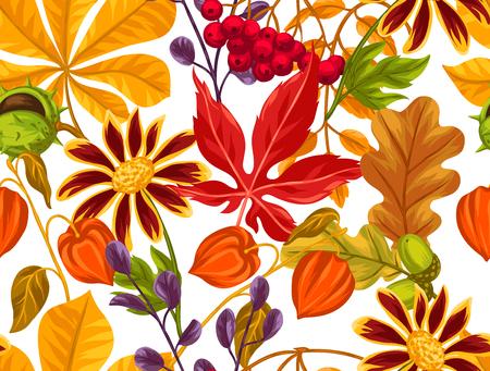 Seamless avec des feuilles d'automne et de plantes. Contexte facile à utiliser pour toile de fond, le textile, le papier d'emballage.
