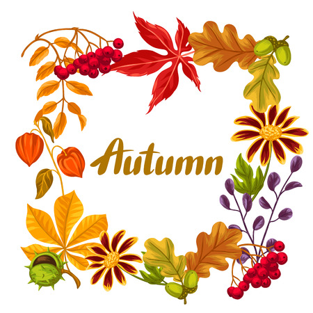 flayers: Frame with autumn leaves and plants. Design for advertising booklets, banners, flayers, cards.