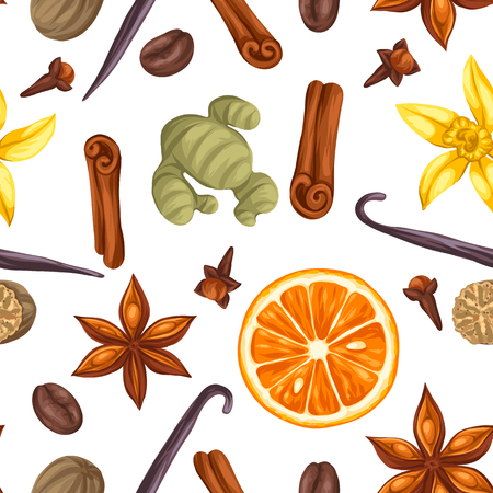 dried: Seamless pattern with various spices. Illustration of anise, cloves, vanilla, ginger and cinnamon.
