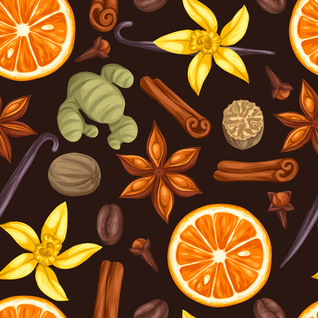 ginger flower plant: Seamless pattern with various spices. Illustration of anise, cloves, vanilla, ginger and cinnamon.