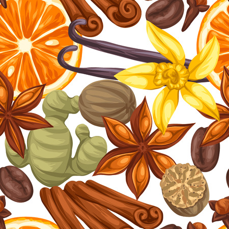 Seamless pattern with various spices. Illustration of anise, cloves, vanilla, ginger and cinnamon. Vetores