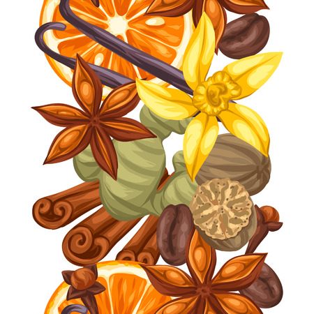 anise: Seamless pattern with various spices. Illustration of anise, cloves, vanilla, ginger and cinnamon.