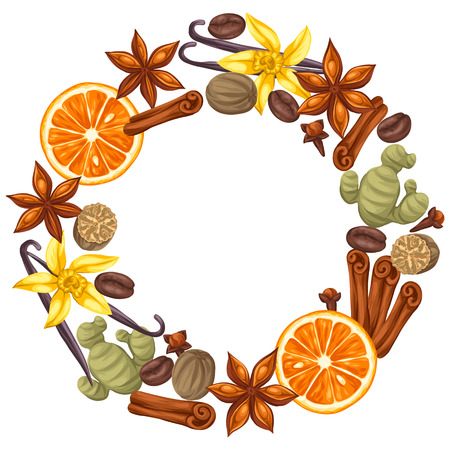 anise: Frame design with various spices. Illustration of anise, cloves, vanilla, ginger and cinnamon. Illustration