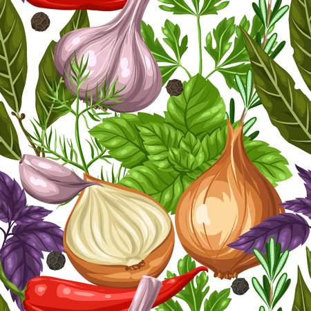 basil: Seamless pattern with various herbs and spices. Illustration