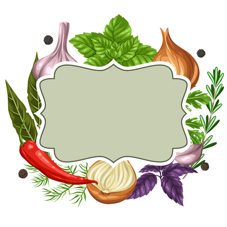 dill: Frame design with various herbs and spices.