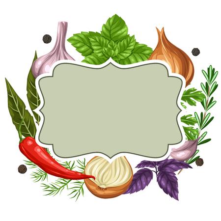 kulinarne: Konstrukcja ramy z Vaus ziół i przypraw. Ilustracja
