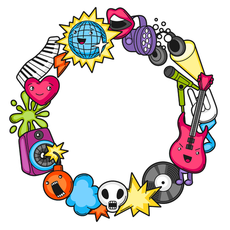 Music party  frame. Musical instruments, symbols and objects in cartoon style.