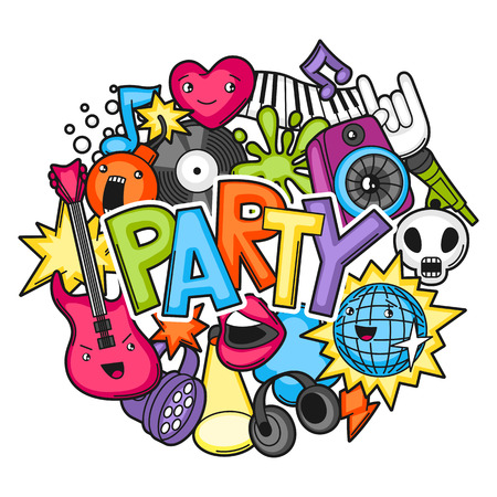 Music party design. Musical instruments, symbols and objects in cartoon style.