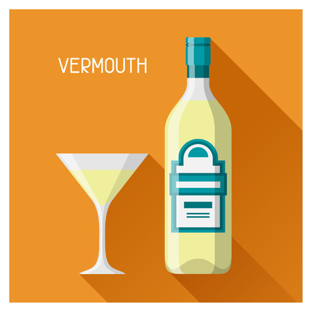 vermouth: Bottle and glass of vermouth in flat design style.