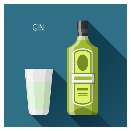 gin: Bottle and glass of gin in flat design style.