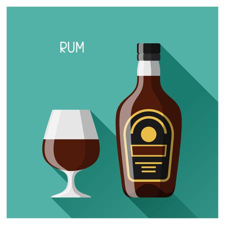 botella de licor: De botella y vaso de ron en el estilo de diseño plano.
