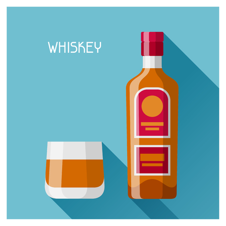 bourbon whisky: Bottle and glass of whiskey in flat design style. Illustration