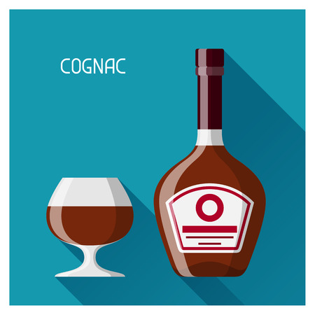 glas: Bottle and glass of cognac in flat design style. Illustration