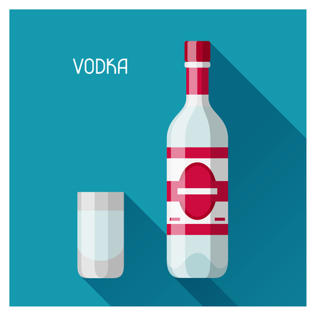 russian food: Bottle and glass of vodka in flat design style. Illustration