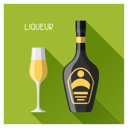 Bottle and glass of liqueur in flat design style.