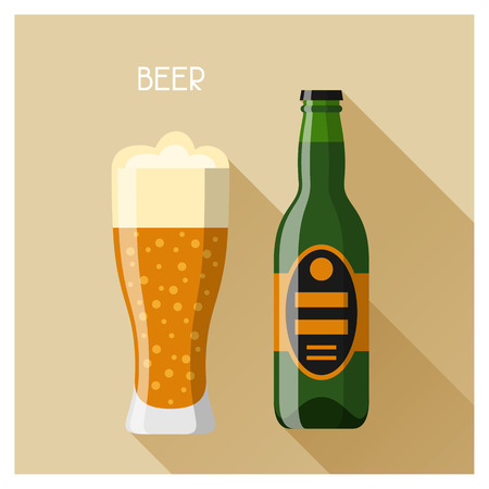 alcoholic: Bottle and glass of beer in flat design style.