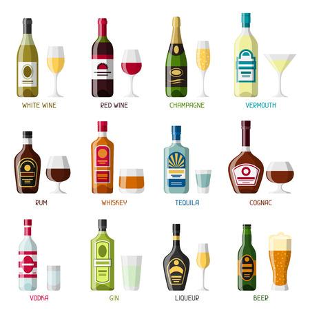 Alcohol drinks icon set. Bottles, glasses for restaurants and bars. Illustration