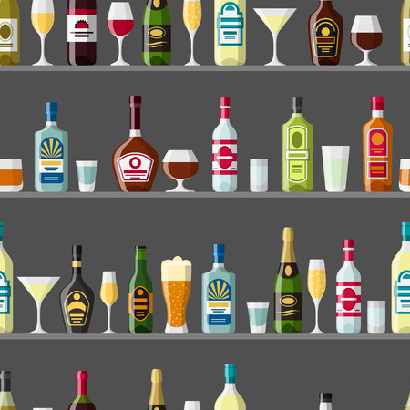liquors: Alcohol drinks seamless pattern. Bottles, glasses for restaurants and bars.
