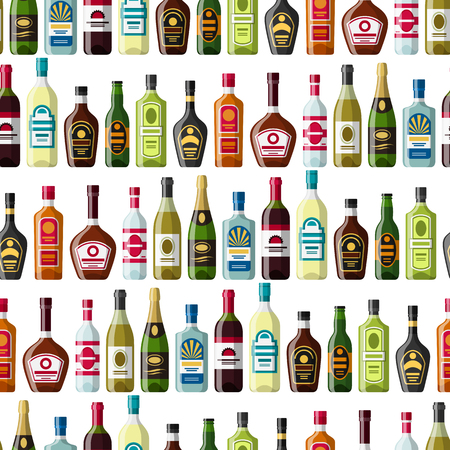 wines: Alcohol drinks seamless pattern. Bottles for restaurants and bars.