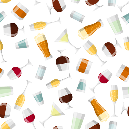 Alcohol drinks seamless pattern. Glasses for restaurants and bars.