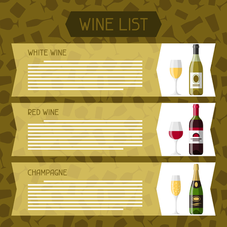 wine list: Alcohol drinks menu or wine list. Bottles, glasses for restaurants and bars.