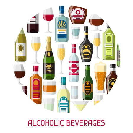 alcohol drinks: Alcohol drinks background design. Bottles, glasses for restaurants and bars.