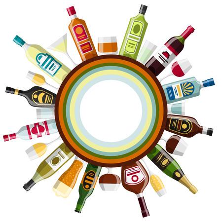 bebida: bebidas alcoólicas projeto do fundo. Garrafas, copos para restaurantes e bares. Ilustração