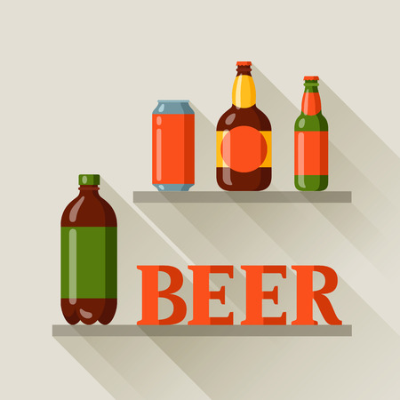 beer can: Background design with beer can and bottles.