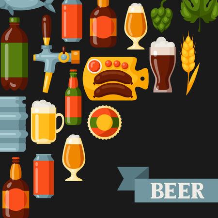 jarra de cerveza: diseño de fondo con los iconos y objetos de cerveza. Vectores