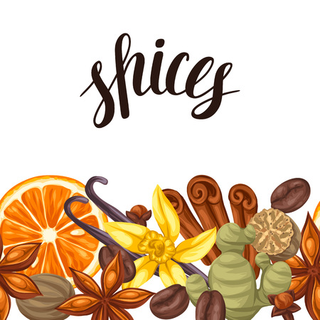 cloves: Seamless border with various spices. Illustration of anise, cloves, vanilla, ginger and cinnamon.
