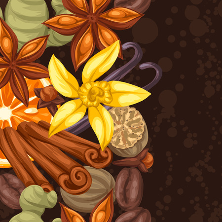 Seamless border with various spices. Illustration of anise, cloves, vanilla, ginger and cinnamon.