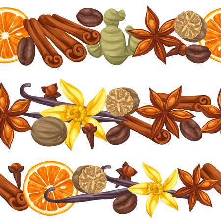 cloves: Seamless borders with various spices. Illustration of anise, cloves, vanilla, ginger and cinnamon.