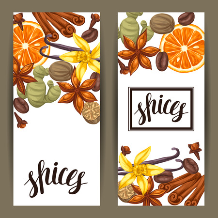 cloves: Banners design with various spices. Illustration of anise, cloves, vanilla, ginger and cinnamon.