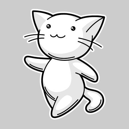 funky: Cute white cat. Sticker for fun Illustration
