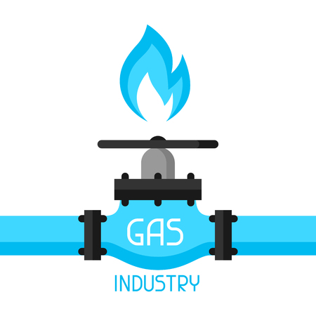 natural gas: Gas control valve. Industrial illustration in flat style.