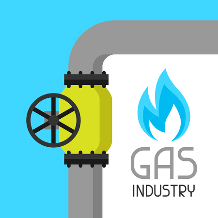 methane: Gas control valve. Industrial illustration in flat style.