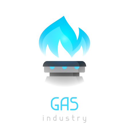 Blue gas flame on stove. Industrial illustration.