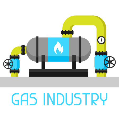 exchanger: Gas heat exchanger in refinery. Industrial illustration in flat style.