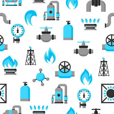 methane: Natural gas production, injection and storage. Industrial seamless pattern.