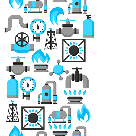 gas: Natural gas production, injection and storage. Industrial seamless pattern.