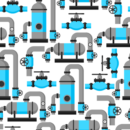 pipes: Natural gas heat exchanger, control valves and storage. Industrial seamless pattern. Illustration