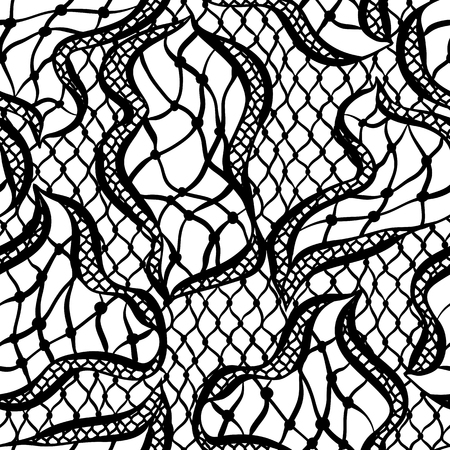 womanly: Seamless lace pattern with abstract waves. Vintage fashion textile. Illustration