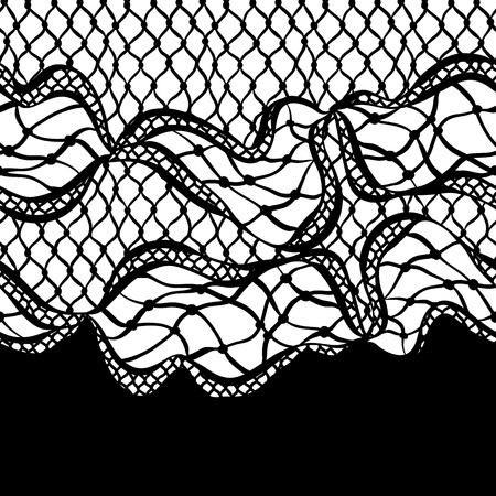 lacework: Seamless lace border with abstract waves. Vintage fashion textile.