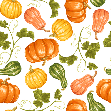 vintage illustration: Seamless pattern with pumpkins. Decorative ornament from vegetables and leaves.
