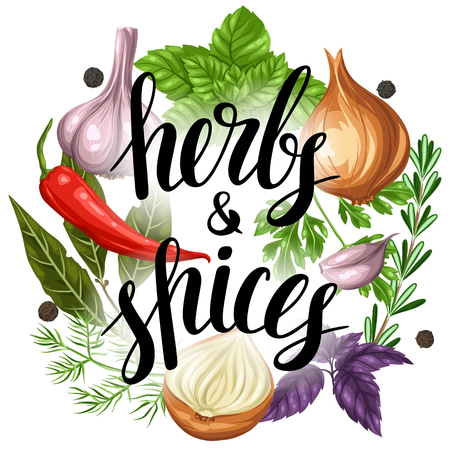 Background design with various herbs and spices.