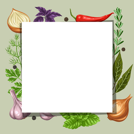 recipe book: Frame design with various herbs and spices.