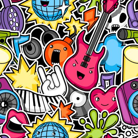 Muziekfeestje kawaii naadloos patroon. Muziekinstrumenten, symbolen en objecten in cartoon stijl.