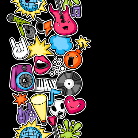 Music party seamless pattern. Musical instruments, symbols and objects in cartoon style.