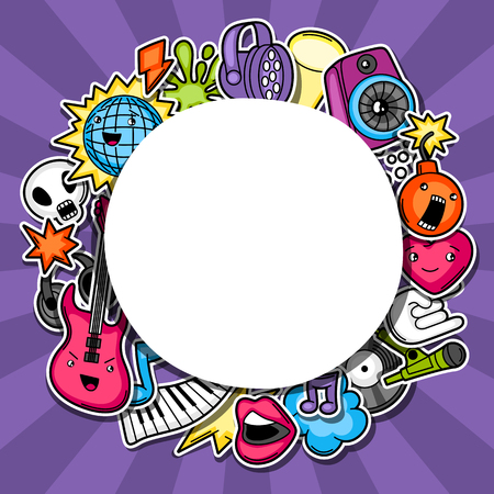 flayer: Music party kawaii background. Musical instruments, symbols and objects in cartoon style. Illustration