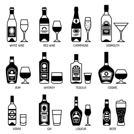 alcohol drinks: Alcohol drinks icon set. Bottles, glasses for restaurants and bars. Illustration